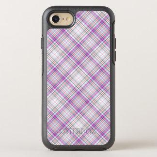 スタイリッシュな紫色のチェック模様のパターン オッターボックスシンメトリーiPhone 8/7 ケース