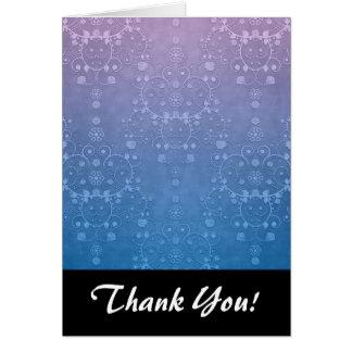 スタイリッシュな紫色の青い花のダマスク織パターン カード