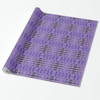 スタイリッシュな紫色の黒いパターン ラッピングペーパー