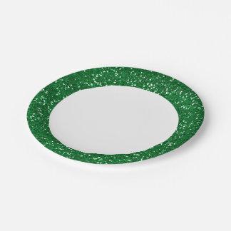 スタイリッシュな緑のグリッター ペーパープレート