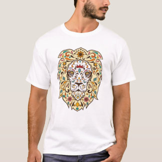 スタイリッシュな花のライオンのデザイン Tシャツ