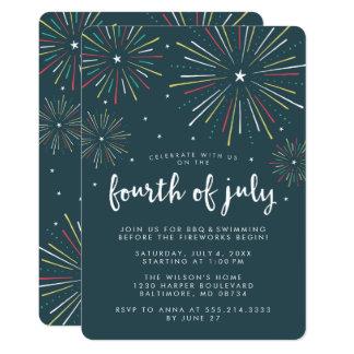 スタイリッシュな花火の7月4日のパーティの招待状 カード