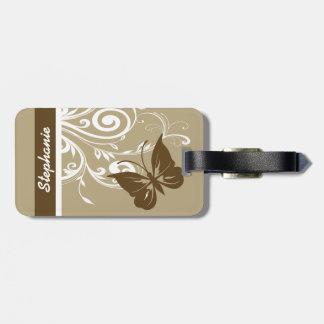 スタイリッシュな蝶および華麗さはチョコレートで渦巻きます ラゲッジタグ