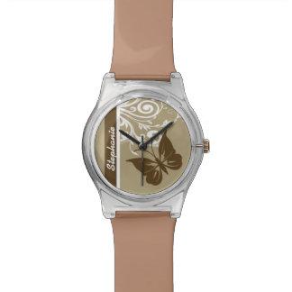 スタイリッシュな蝶および華麗さはチョコレートで渦巻きます 腕時計
