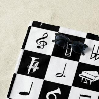 スタイリッシュな近代音楽のノートおよび楽器 ビーチタオル