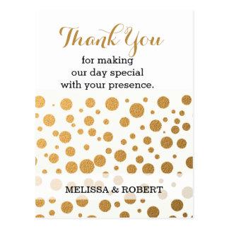 スタイリッシュな金ゴールドの紙吹雪の結婚式は感謝していしています はがき