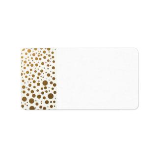 スタイリッシュな金ゴールドホイルの紙吹雪の点 宛名ラベル