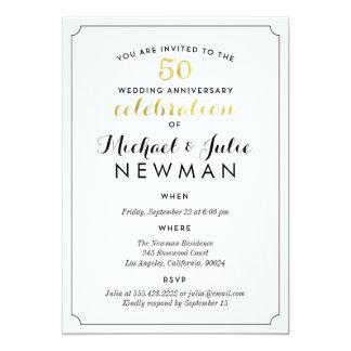スタイリッシュな金第50記念日のパーティの招待状 カード