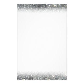 スタイリッシュな銀製のグリッターの輝きの写真 便箋