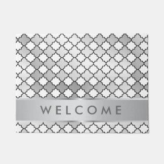 スタイリッシュな銀製の金属格子パターン歓迎 ドアマット