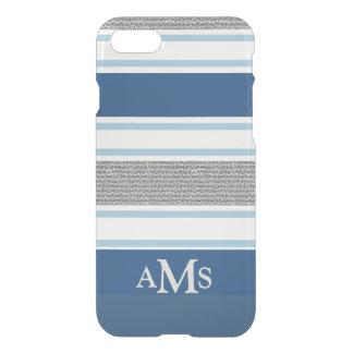 スタイリッシュな銀製の青くストライプのな3つのモノグラム iPhone 7ケース