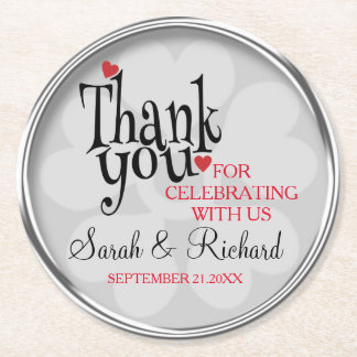 スタイリッシュな銀製灰色の結婚式は感謝していしています ラウンドペーパーコースター