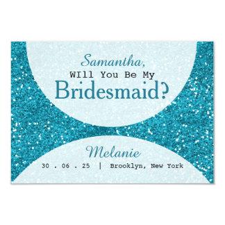 スタイリッシュな青緑のグリッターの新婦付添人 カード