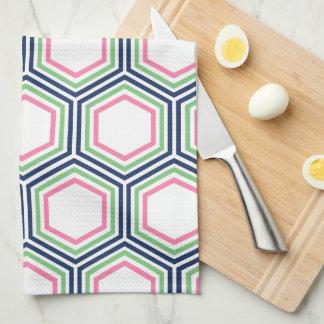 スタイリッシュな青緑のピンクの幾何学的なパターン キッチンタオル