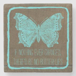 スタイリッシュな青緑の木製の蝶引用文 ストーンコースター