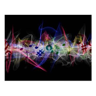 スタイリッシュな音楽クレフ、音符記号 ポストカード