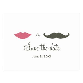 スタイリッシュな髭および唇は日付を救います ポストカード