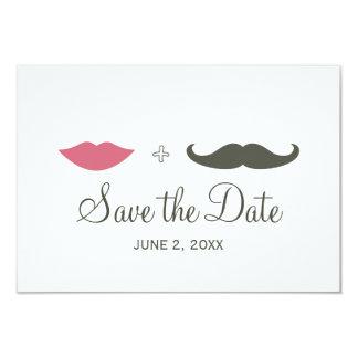 スタイリッシュな髭および唇は日付を救います 8.9 X 12.7 インビテーションカード