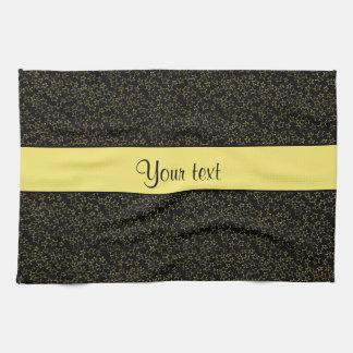 スタイリッシュな黒く及び黄色のグリッターの小型星 キッチンタオル