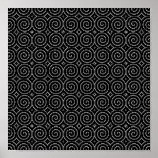 スタイリッシュな、白黒螺線形の設計 ポスター