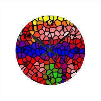 スタイリッシュなmutlicoloredステンドグラス ラウンド壁時計
