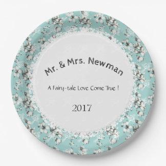 スタイリッシュ結婚式--Anniversary-Template_Blue--花柄 ペーパープレート
