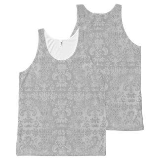 スタイリッシュ銀--ダマスク織女性タンクトップ オールオーバープリントタンクトップ