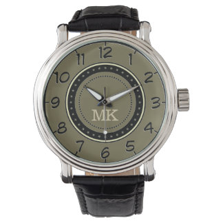 スタイルのLodenのレトロの緑。 クラシックなモノグラムの人 腕時計
