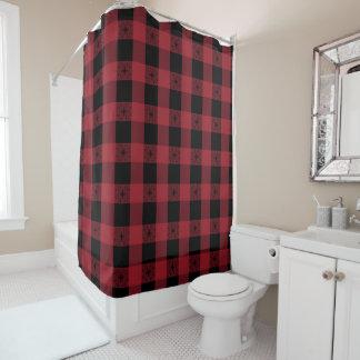スタイルを作られる赤く黒いタータンチェック シャワーカーテン