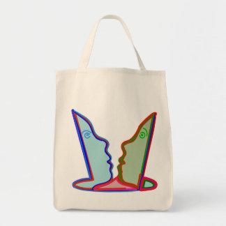 スタイル: 食料雑貨の戦闘状況表示板の恋人の漫画の顔 トートバッグ