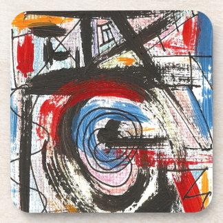 スタッカート手の色彩の鮮やかな抽象美術ブラシストローク コースター