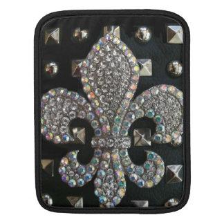 スタッドとの黒の水晶(紋章の)フラ・ダ・リ iPadスリーブ