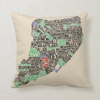 スタテン島NYのタイポグラフィの地図のクッション クッション
