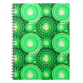 スターバストおよび風車、暗いマツ緑 ノートブック