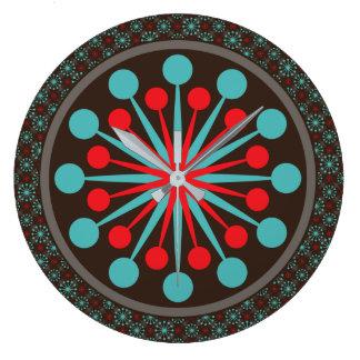 スターバストの世紀半ばのモダンで赤いターコイズ ラージ壁時計