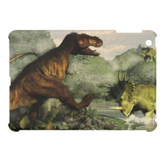 スティラコサウルスに対して戦うティラノサウルス・レックスのレックス iPad MINIケース