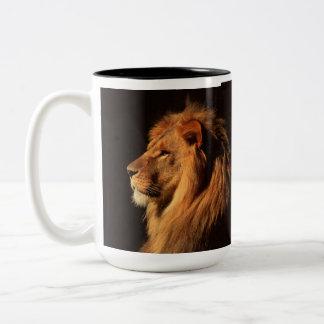 スティーブンHolt著アフリカのオスのライオンのポートレート ツートーンマグカップ