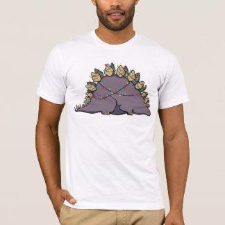 ステゴサウルスのクリスマスの照明のワイシャツ Tシャツ