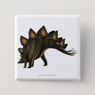 ステゴサウルスの恐竜、コンピュータアートワーク 5.1CM 正方形バッジ