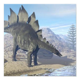 ステゴサウルスの恐竜- 3Dは描写します 13.3 スクエアインビテーションカード