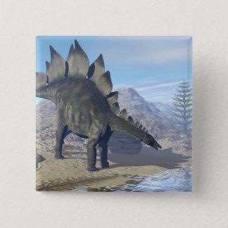 ステゴサウルスの恐竜- 3Dは描写します 5.1CM 正方形バッジ