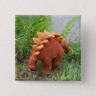 ステゴサウルスピンボタン 5.1CM 正方形バッジ