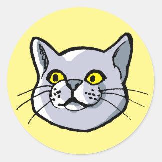 ステッカーのあたりで引いているロシアのな青猫 ラウンドシール