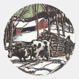 ステッカーのシールのヴィンテージの森のまきのウシのそりのウシ ラウンドシール