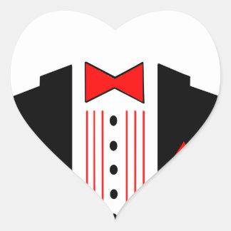 ステッカーのタキシードのハートのバレンタインの結婚式のプロム ハート形シール・ステッカー