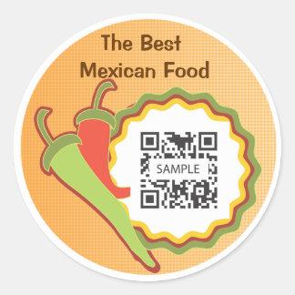 ステッカーのテンプレートのメキシコ人のレストラン ラウンドシール