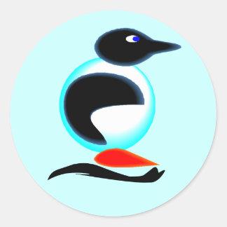 ステッカーのネオンペンギンの鳥のスライドのスクラップブック ラウンドシール