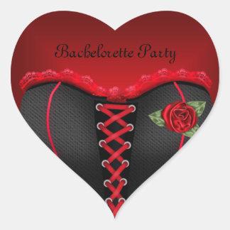 ステッカーのハートのバチェロレッテの黒の赤のコルセット ハートシール