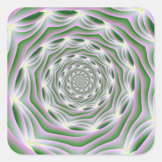 ステッカーのピンクおよび緑の渦 スクエアシール
