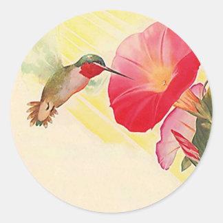 ステッカーのルビー色のThroatedハチドリの@花園 ラウンドシール
